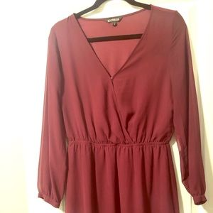 Maroon Long Sleeve Dress (Short)